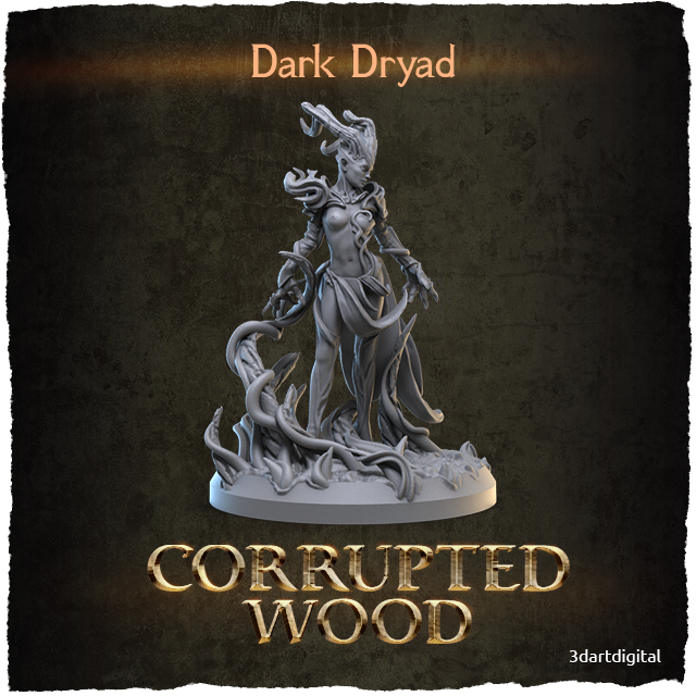 3D Art Digital Corrupted Wood Dark Dryad