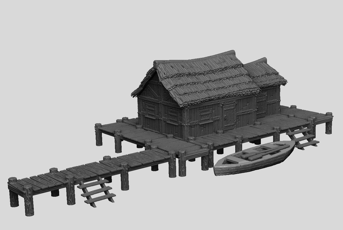 Dark Realms Forge Medieval Fisherman's Hut & Pier