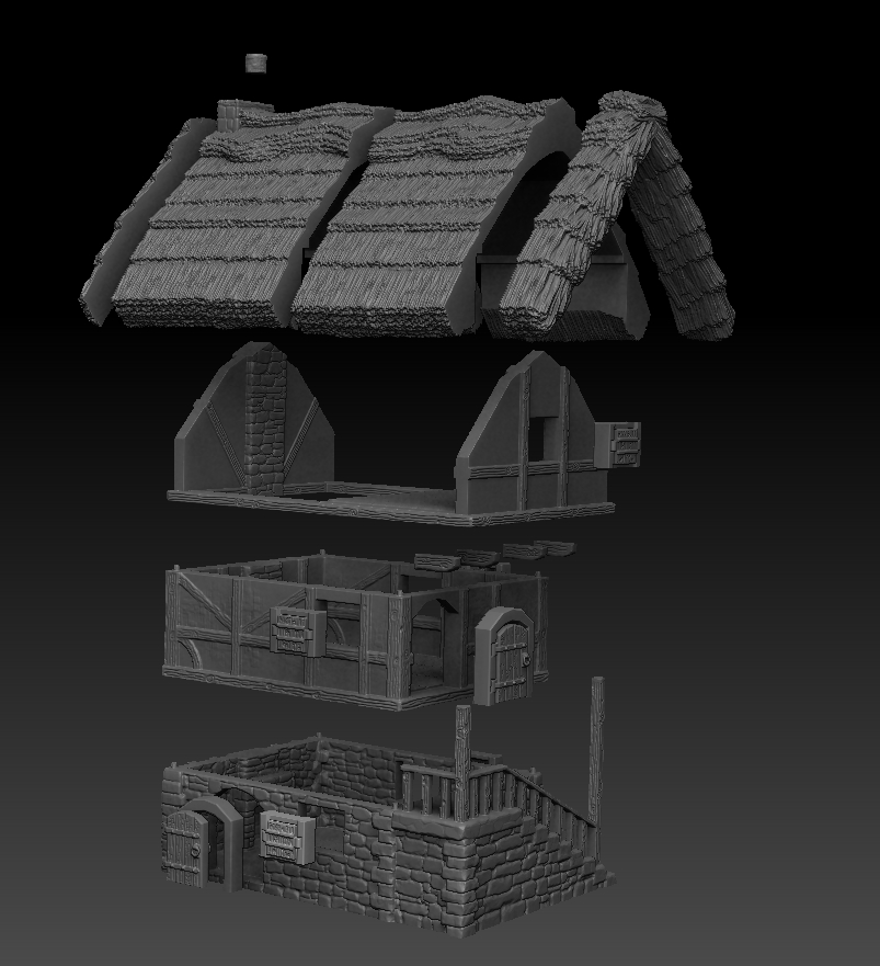 Dark Realms Forge Medieval House Medium Thatched Roof